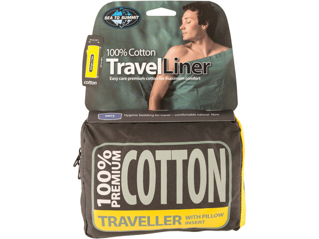 Sea to Summit Premium Cotton Travel Liner Traveller with Pillow Insert navy blue